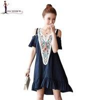 Summer Dress Plus Size Women Ethnic Style Embroidered Bare shoulder Loose Dresses Retro Fashion Comfortable Dresses FASHION 342