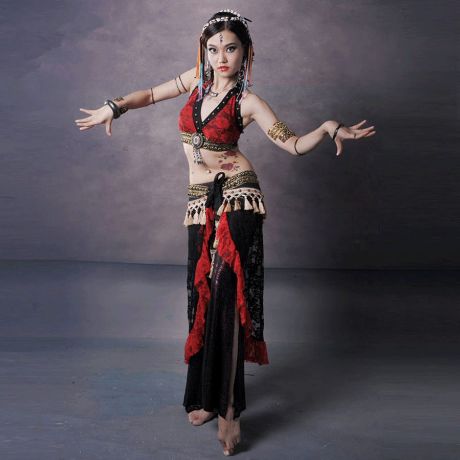Red lace tribal belly dance clothing plus size 3 piece costume set women crop tops