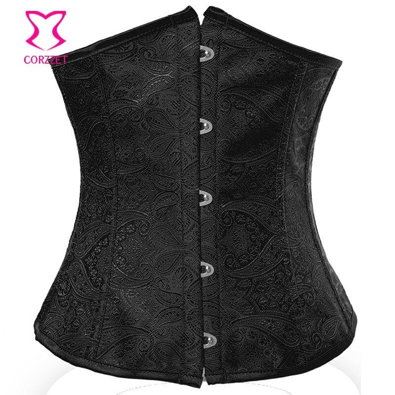 Sexy Black Underbust Corset Waist Trainer Vintage Gothic Bustiers Corsets Corselet Women Waist Trainer Espartilhos E Corpetes