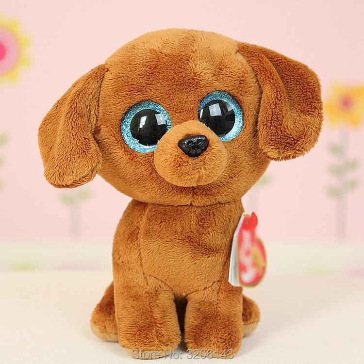 Ty Beanie Boos 6 Dougie The Dachshund Dog Big Glitter Eyes 15cm