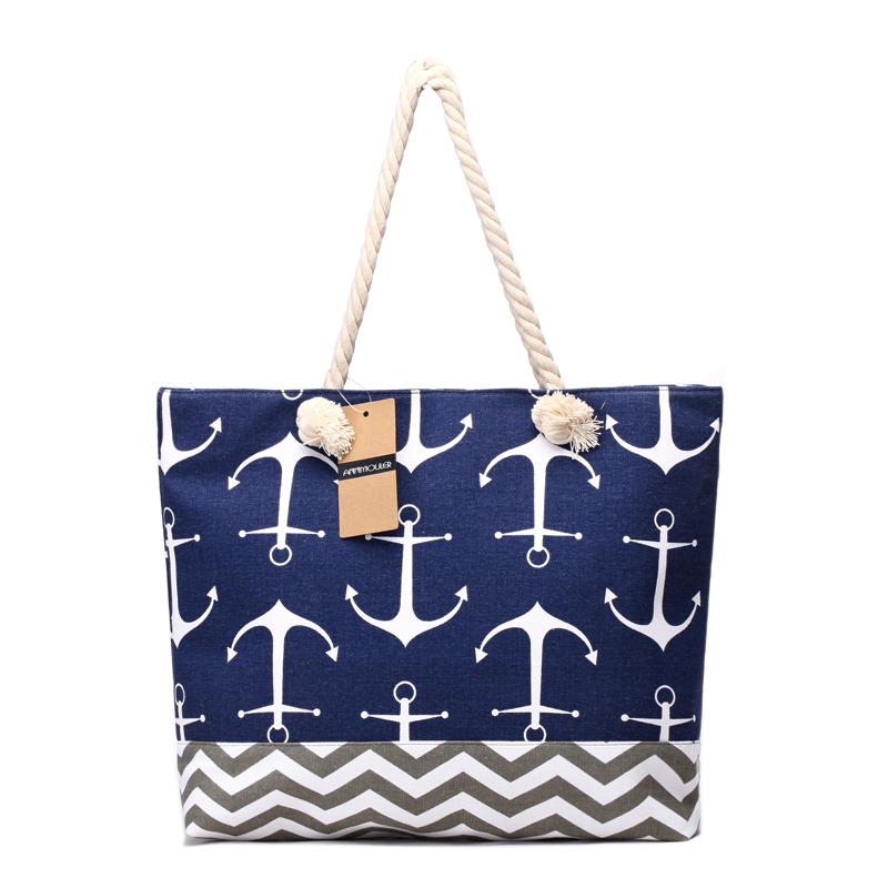 Pungi de mână de mare capacitate Genți de mână de mare Capacitate Canvas Tote Pungi Navy Style Patchwork Beach Bag Anchor Printed Big Totes