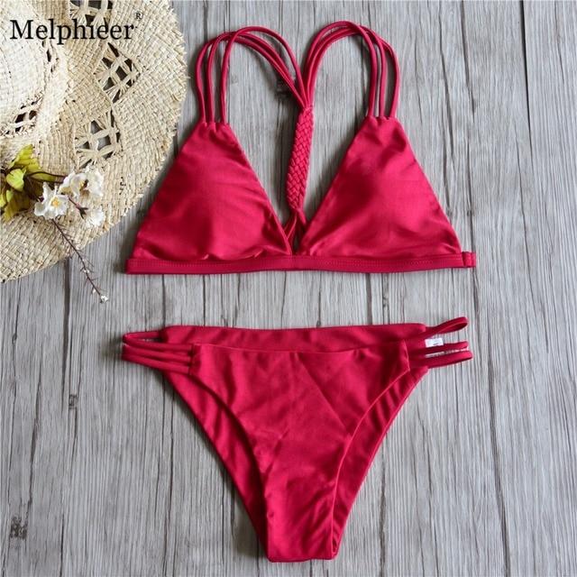 63ac1c16cd5 2018 Girls Red Bikini Braided Cut Out Bikinis Women Bandage Swimwear  Brazilian Push Up Swimsuit Bathing Suit Swim Beach Biquini