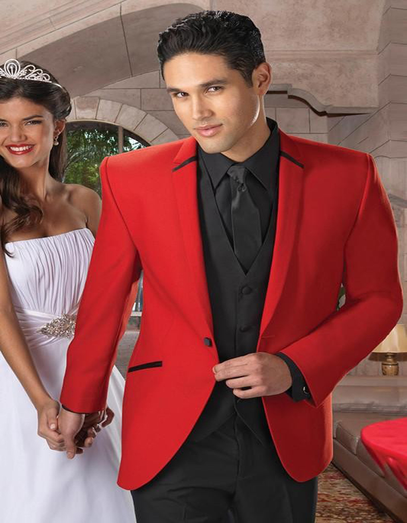 Black Vest Red Jacket Wedding Suits Notch Lapel Groom Tuxedos Party ...