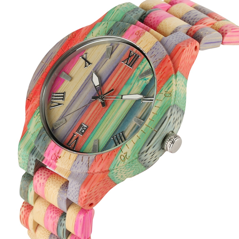 Bamboo Watches Bracelet Items Gifts Quartz Wooden Colorful Natural Unique Handmade Analog