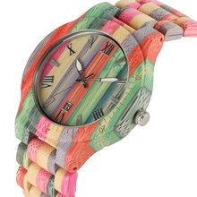 лучшая цена Unique Colorful Men Bamboo Watches Lovers Handmade Natural Wooden Bracelet Quartz Analog Luxury Wristwatches Ideal Gifts Items