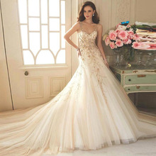 Custom Made Vestido Noiva Champagne Tulle Embroidery Beading A-Line Wedding Dress Robe De Mariage