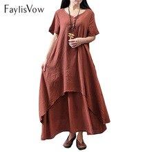 5XL Хлопок Лен большой Размеры платье Для женщин Ретро V шеи короткий рукав свободные летние платья Boho нерегулярные слоистых платье макси плюс Размеры