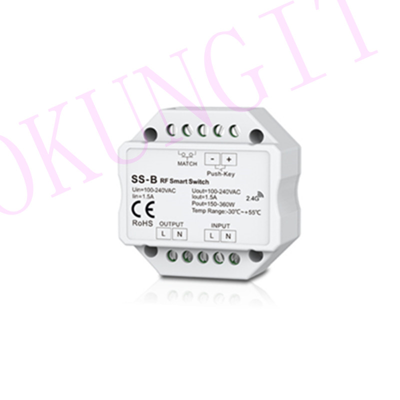 Non-Dimmable 100-240VAC 1.5A RF 2.4GHz Push Switch SS-B RF Smart Switch Output 100-240VAC 2A 480W Smart Switch With Relay Output