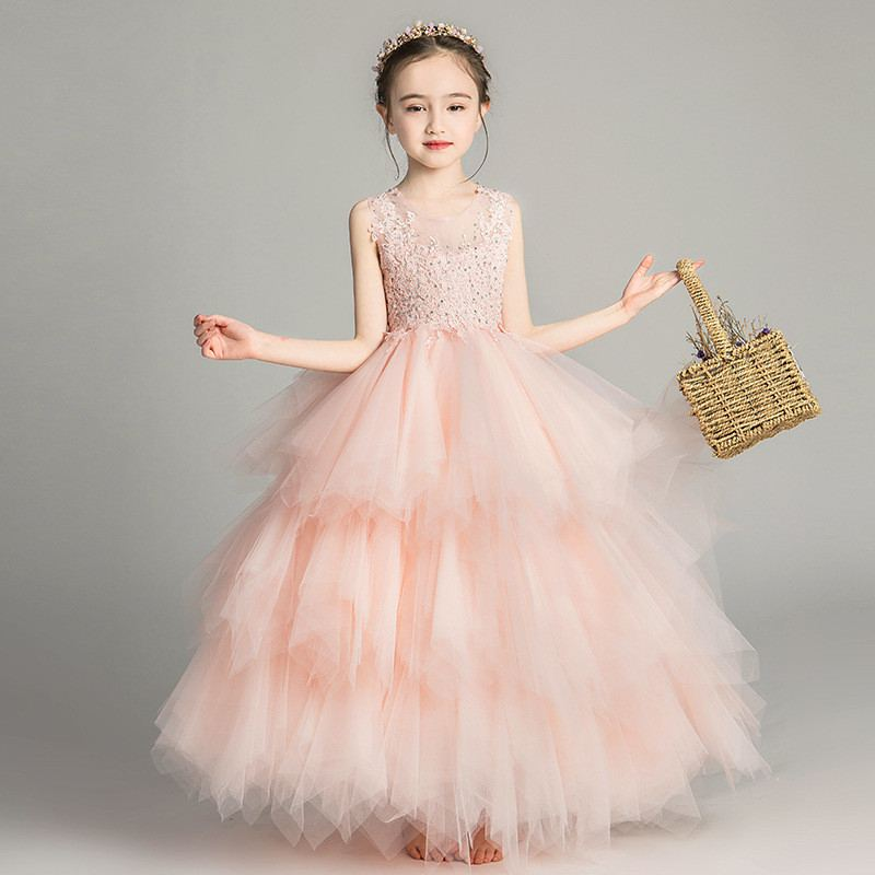 e6aa684601f 2019 New Kids Girl Lace Bead Wedding Tulle Dress Teen Girls Princess Christmas  Party Dress Children