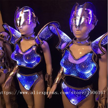 New Design Blue Color Led Luminous Catwalk Ballroom Costume Sexy Women Evening Party Dress Cosplay Stage TV Show Clothes