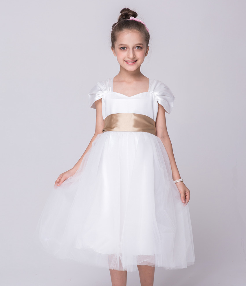 Children Designer Clothes European Vintage Princess Flower Girl Dress 3 10 Year Old White Knee Length Dresses with Gold Sash gril flower dress multi storey white clothes stage girl performance children show clothes for dance with a pair of glove