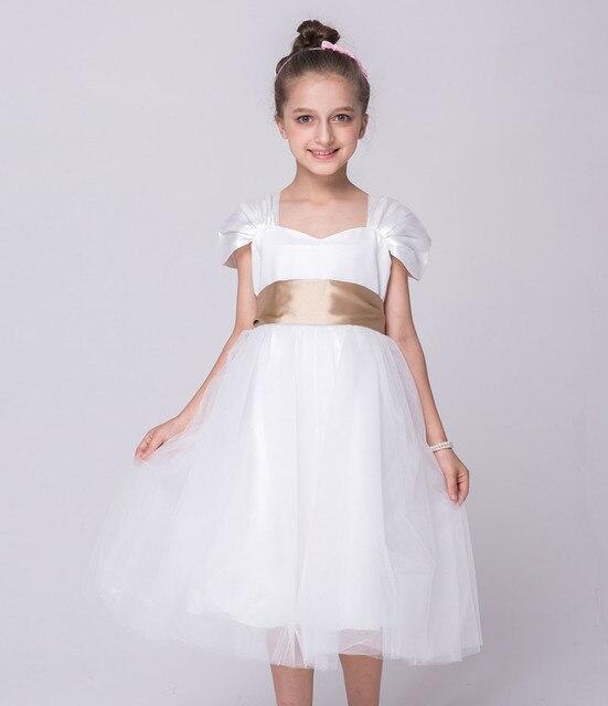 Children Designer Clothes European Vintage Princess Flower Dress 3 10 Year Old White Knee Length