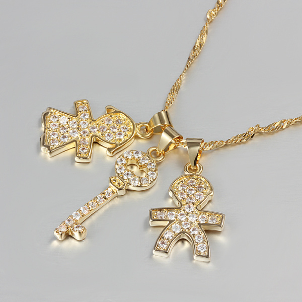 Gold Boy and Girl Key Cable Chain Zircon Crystal Necklace Chs