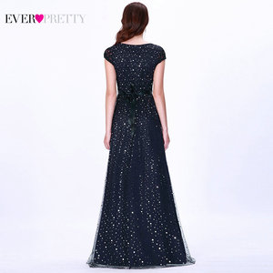 Image 2 - Prom Dresses Long 2020 Ever Pretty EZ07650 Womens Elegant Navy Blue Sleeveless Lace Appliques Embroidery Tulle Vestido Formatur