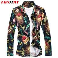 LONMMY M 5XL Flower Shirts Men Camisa Social Mens Long Sleeve Shirt Floral Slim Fit Mens