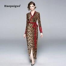 Plus Size 2018 Autumn Eopard Print Dresses Women V-neck Long Sleeve Casual Long Women Dress Elegant Midi Sexy Dress with Sashes casual long sleeve geometric print plus size dress for women
