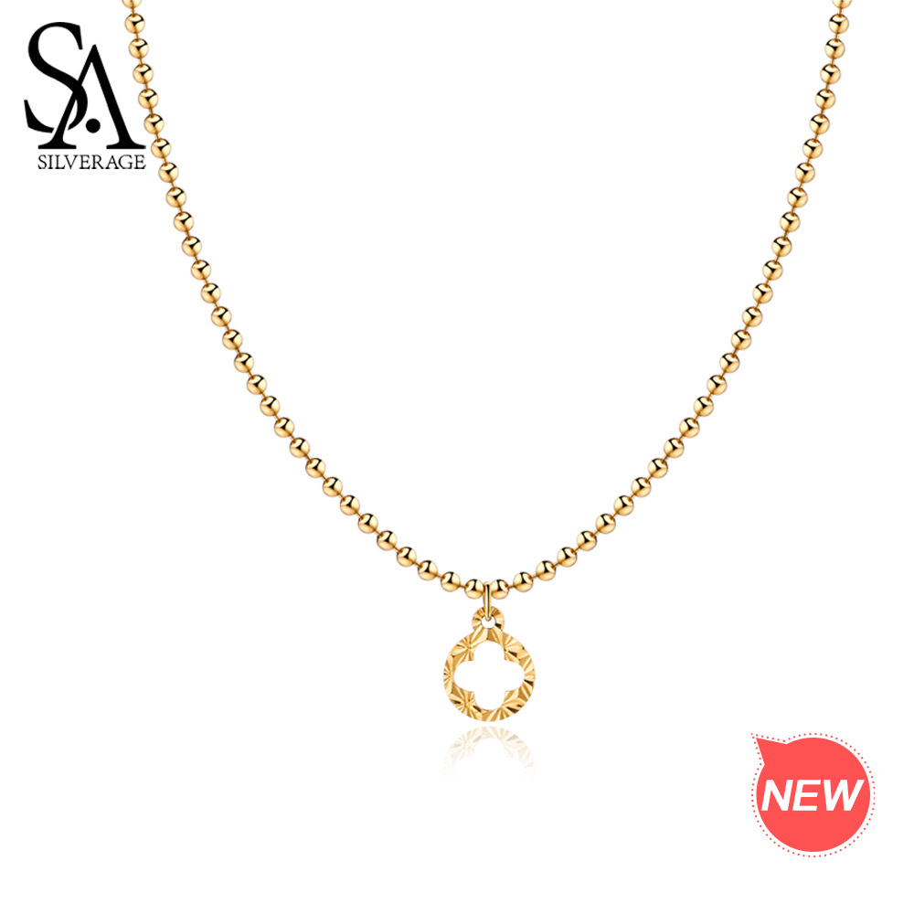 SA SILVERAGE 9K Yellow Gold Pendant Necklace Chokers Necklaces For Women Round Ball Chain Necklace Pendant Necklace New stylish sunflower round pendant necklace for women