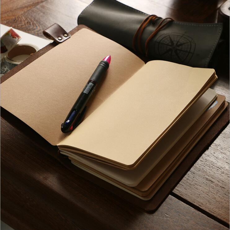 Dilosbu Traveler's Notebook Kraft Refill Inner Core Page Inside Paper Loose Leaf Binder Filler Planners Notepad Office Supplies