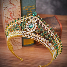 Large Baroque Vintage Green Royal Blue Crystal Queen Crown Gold Bridal Headband Beauty Pageant Wedding Tiara For Women Hairwear