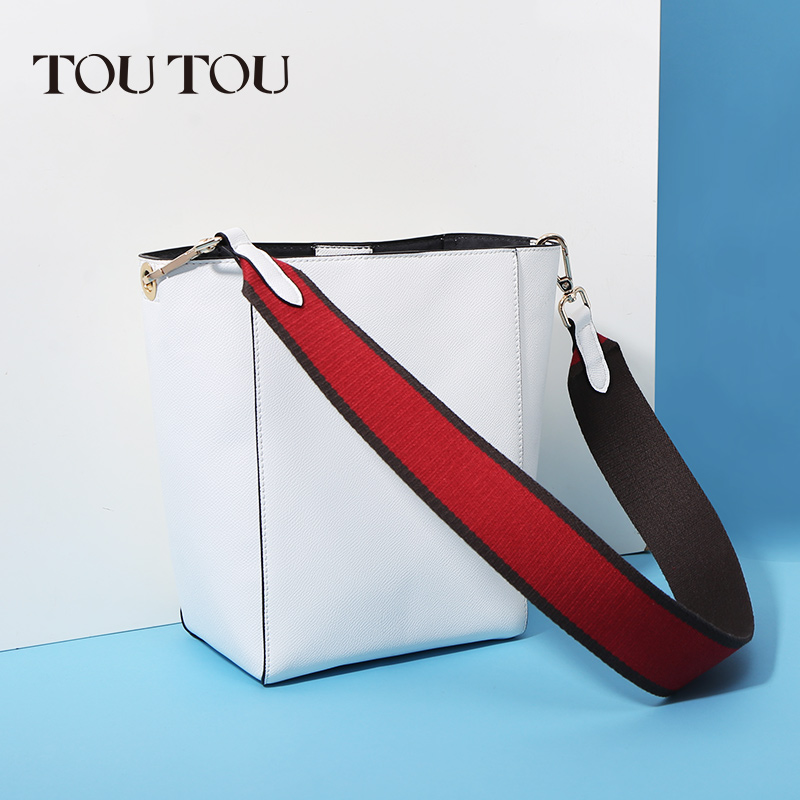 TT088 hot sell Fashion Luxury Handbags Women white Bucket Bag Pu Leather Wide atchwork Shoulder Strap Purse and Crossbody Bags women wide shoulder strap leather handbag shoulder bag bucket chunky chain bag winter 2017 new female purse hand bags