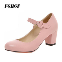 Button high heels spring round head casual low top size womens shoes White black pink khaki one 34-43