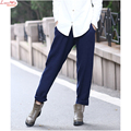 lady solid color straight retro draped linen casual slacks leisure soft long harem pants