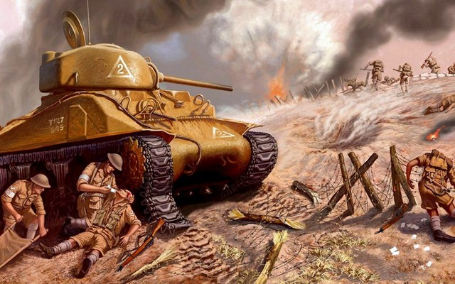 US $11 98  Living room home wall decoration fabric poster sherman tank m4  american medium tank sherman soldiers battle situations-in Painting &