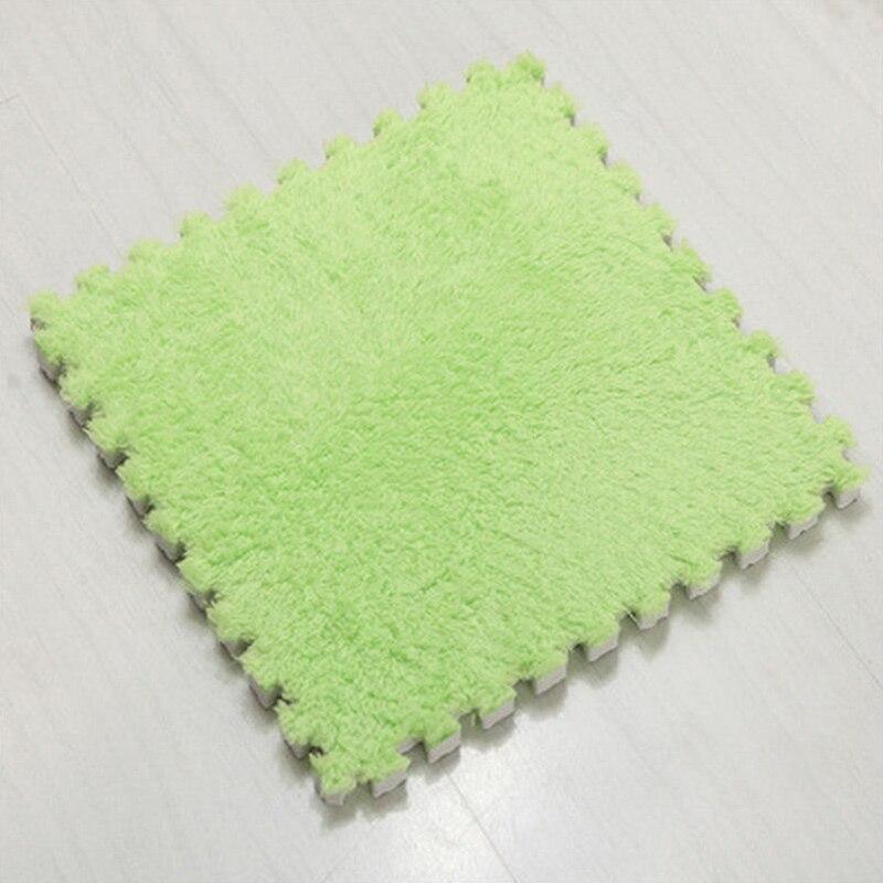 Ткань лохматый 30x30 см Коврик-головоломка пена бархатистый коврик EVA пена EVA домашняя пена коврик - Цвет: Green
