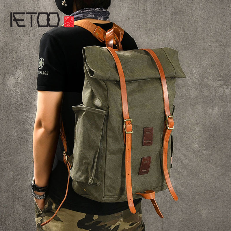 AETOO Large capacity pure copper oil wax canvas travel backpack Retro casual outdoor mountaineering backpackAETOO Large capacity pure copper oil wax canvas travel backpack Retro casual outdoor mountaineering backpack