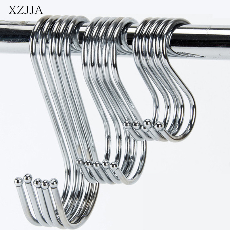 XZJJA 6Pcs Metal S-Shaped Hooks Kitchen Storage Holders Clasp Sundries Organizer Cast Iron Hanging S Hooks Clothes Bag Hanger