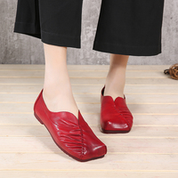 VALLU Leather Shoes Women Flats Genuine Leather Moccasins Square Toes Handmade Pleated Vintage Soft Comfort Slip on Mother Shoes