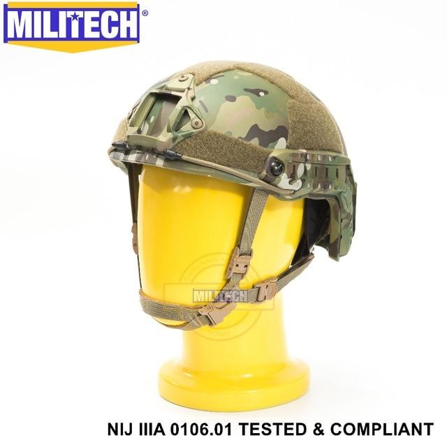 ISO Certified MILITECH MC NIJ Level IIIA 3A FAST OCC Liner High XP Cut Bulletproof Aramid Ballistic Helmet With 5 Years Warranty