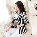 Women OL Korean Style Black White Striped Blazer Coat Long Sleeve M-3XL Short 2016 Spring Autumn Brand Suit Jackets LW186