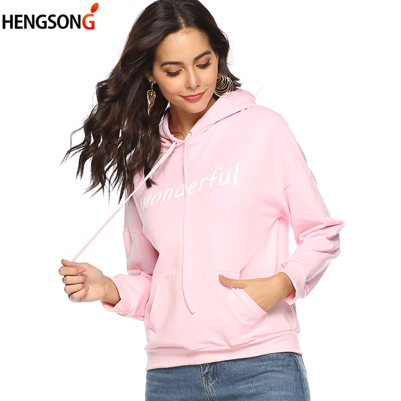 Hot 2019 New Women's Hoodies Sweatshirts High Quality WONDERFUL Letter Printing Hoody Coat Fashion Women Pullovers Tops
