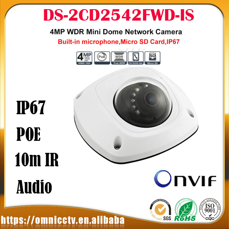 In Stock Free Shipping English Version DS-2CD2542FWD-IS Audio 4MP WDR Built-in Micro Mini Dome Camera 4M Network PoE CCTV Camera free shipping in stock new arrival english version ds 2cd2142fwd iws 4mp wdr fixed dome with wifi network camera
