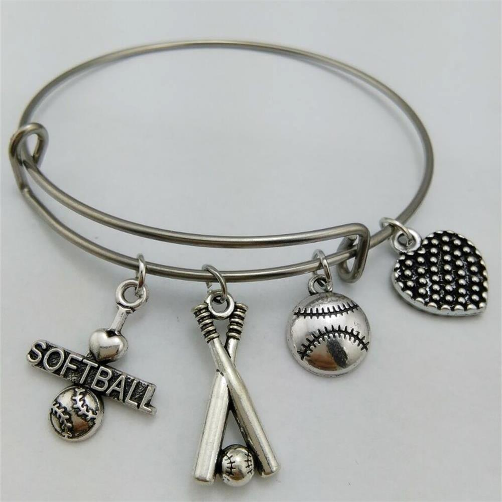 My Shape Sporty Style I Love Softball Bracelet Stainless Steel Expandable  Wire Bangle With Stick Charm