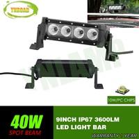YNROAD 8pcs 40w single row Led Light Bar 4x10W work light Driving Offroad Light Spot/flood 10W leds 3600lm 10V 30V IP67