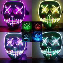 2019 New Halloween Led Luminous Mask Horror Grimace Bloody EL Wire Christmas Carnaval Party Club Bar DJ Glowing Full Face Mask майка print bar bloody chronicle