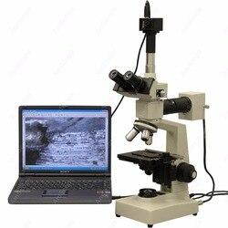 Dwa światła mikroskop metalurgiczny-AmScope Supplies 40X-1000X dwa światła mikroskop metalurgiczny + 5MP aparat cyfrowy
