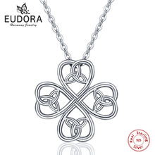 Eudora 925 Sterling Silver Petals & Heart Celtics Knot Pendant Necklace With 18 inch Chian Celtics Jewelry For Women girl CYD128