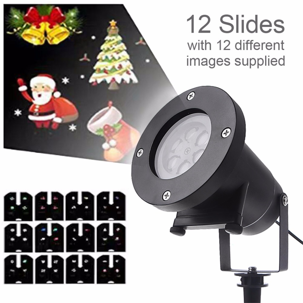 12 Switchable Pattern Moving Snow Laser Projector Lamps Snowflake LED Stage Light For Christmas New year Party Light Garden Lamp 1pcs waterproof moving snow laser projector lamps snowflake led stage light for christmas new year party light garden lamp