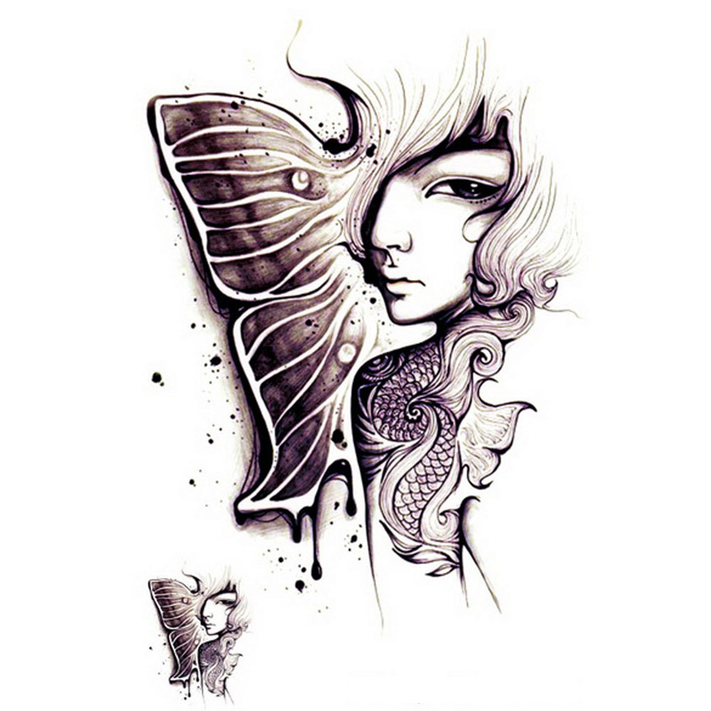 Yeeech Temporary Tattoos Sticker For Women Men Arm Leg Fake Transfer Mermaid Melancholy Spirit Lady Sexy Designs Art Waterproof