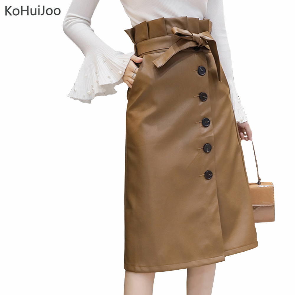 KoHuiJoo Autumn Winter Faux Leather Skirt Women Button High Waist Leather Skirt A Line Sexy Slim Ladies Bodycon Skirts With Belt