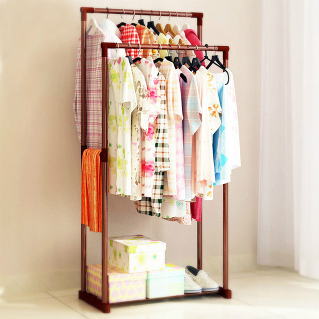 Clothes Hanger Double Rod Iron Pipe Simple Assembly Can Be Removed Balcony Hanging Storage