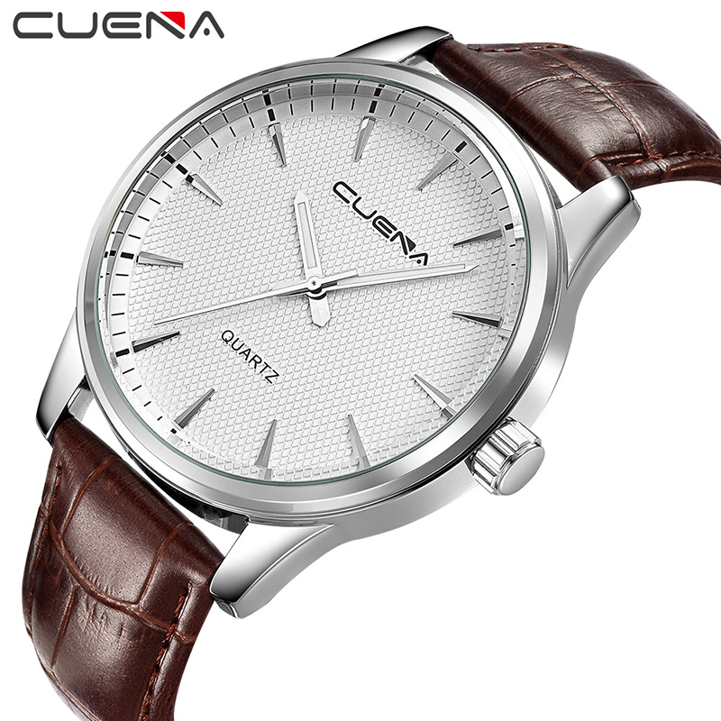 CUENA Fashion Men Quartz Watch Mens Watches Top Brand Luxury Genuine Leather Clocks Waterproof Wristwatches Relogio Masculino men fashion quartz watch mans full steel sports watches top brand luxury cuena relogio masculino wristwatches 6801g clock