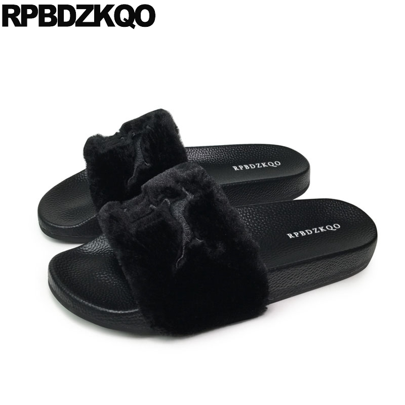 a0ac73e8e83a Wide Fit Fluffy Soft Ladies Slides Embroidery Women Sandals Flat Casual  Furry Summer Fur Blue Black Spring Shoes 2018 Slip On