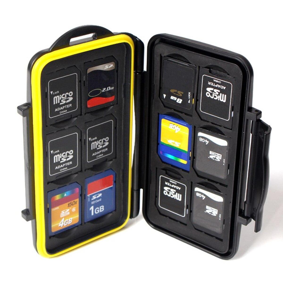 12SD + 12TF impermeable tarjeta de memoria caja de almacenamiento titular tarjeta de memoria bolsa de transporte todo en uno bolsa de tarjeta de memoria de cámara antichoque