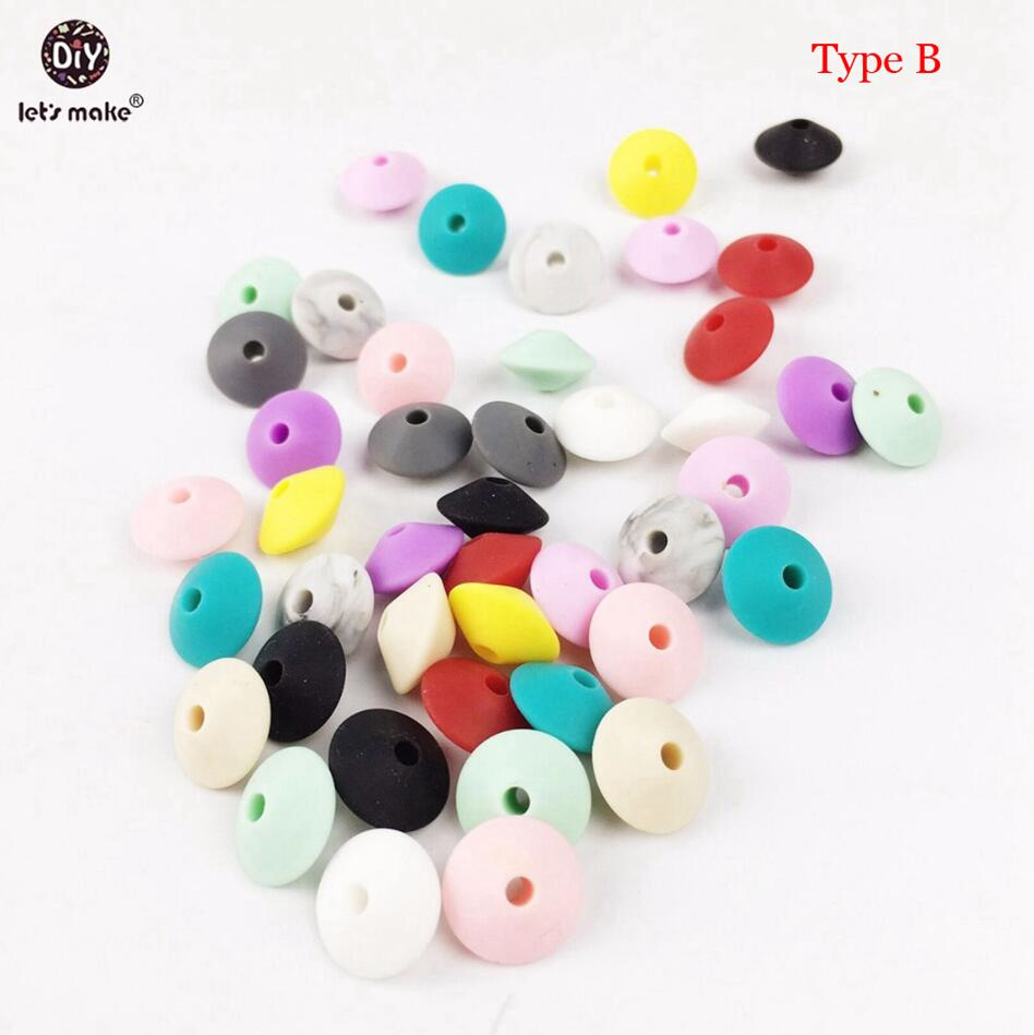 Lets Make 100pc Silicone Saucer Loose Bead Abacus Bead Shape Chew Bracelet Diy Silicone Necklace Silicone Teething Lentil Beads