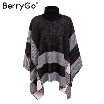 BerryGo Knitted turtleneck cloak sweaters and pullovers Female black casual jumper Autumn streetwear women plaid sweater2018