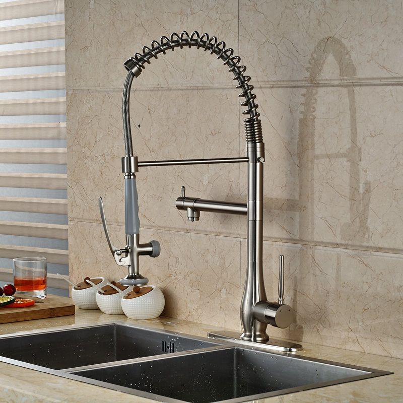 Deck Mounted Single Lever Kitchen Faucet Taps Spring Handsfree Sprayer Head Kitchen Hot and Cold Mixer Faucet